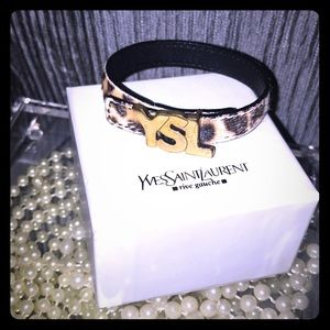 YSL Yves Saint Laurent Leopard Leather Bracelet